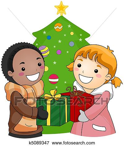 Christmas Giving Clipart.Exchange Gifts Stock Illustration