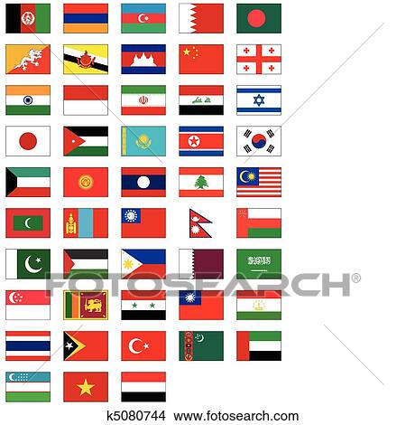 clipart of flag set of all asian countries k5080744 search clip