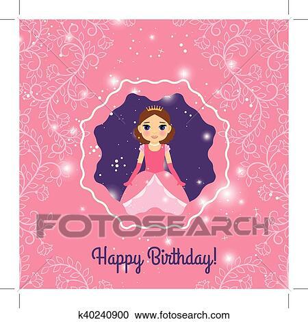 Clipart Joyeux Anniversaire Rose Princesse Carte Voeux