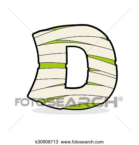 Clipart of Letter D Mummy. Typography icon in bandages. Egyptian ...