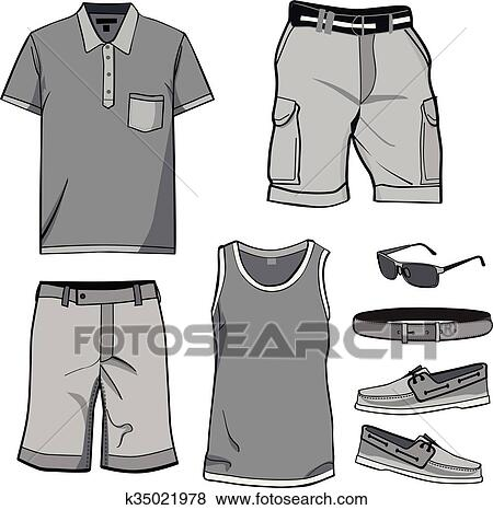 8aec7936ce9 Clip Art - Men s clothes and summer accessories.. Fotosearch