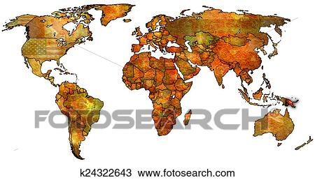 Drawing Of Papua New Guinea Territory On World Map K24322643