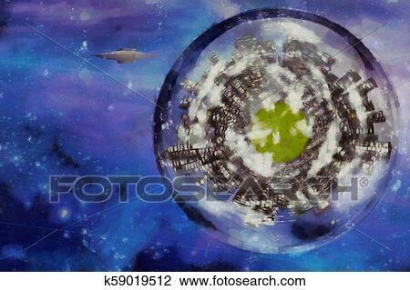 Digital Art Planet Drawing