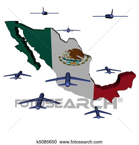 Stock Illustrations Of Planes Flying Towards Mexico Map Flag