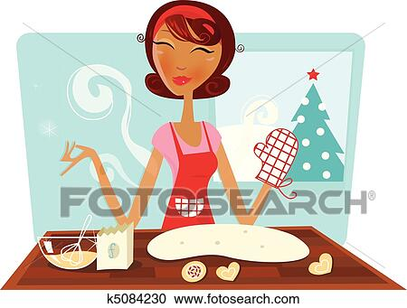 Baking Christmas Cookies Clipart.Woman Baking Christmas Cookies Clipart