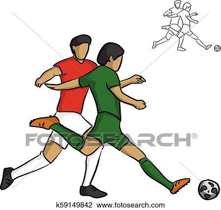 Zwei Mannlich Fussball Spieler Kampfen Fur A Kugel