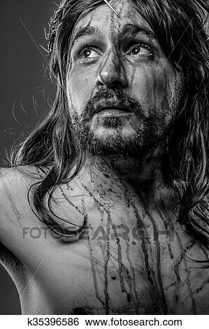 Bibel, darstellung, von, jesus-christ kreuz Stock Fotograf