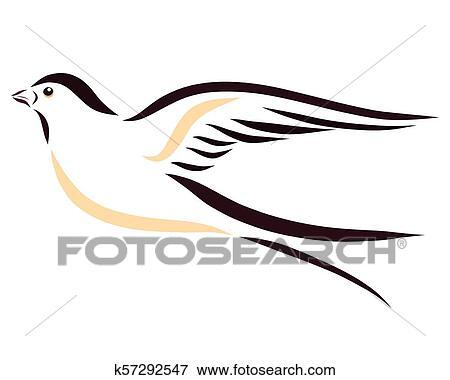 Bonito Rapidamente Voando Andorinha Desenho Com Liso Linhas