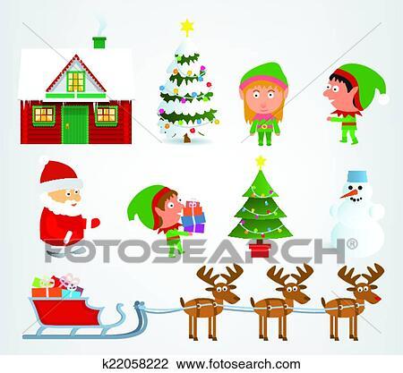 Clipart Of Christmas Symbols K22058222 Search Clip Art