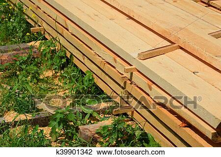 Colección de foto - conjunto, de, apilado, madera, pino, madera ...