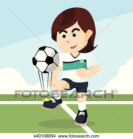Fussballerin Jonglieren Clipart K40108094 Fotosearch