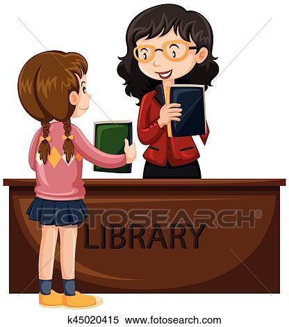 Girl Emprunt Livre Depuis Bibliotheque Clipart