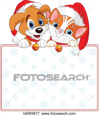 Clip Art of Christmas Cat and dog sign k5093977 - Search Clipart ...