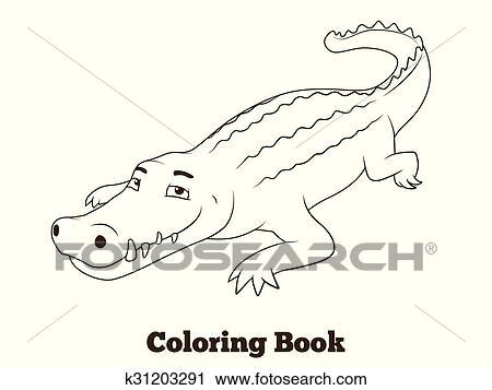 Clipart - libro colorear, cocodrilo, africano, sabana, animal ...