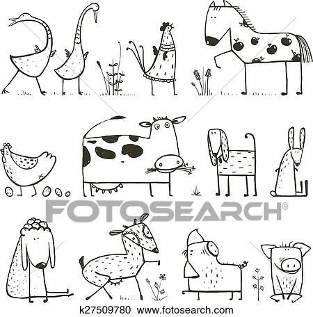 Clipart - lustig, karikatur, bauernhof, haustiere, sammlung, für ...