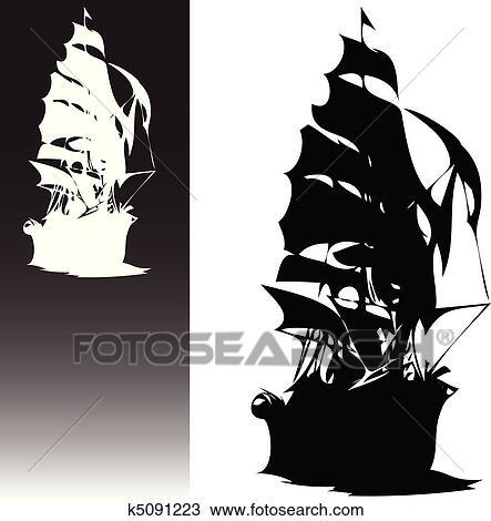 Clipart Pirates Bateau Noir Blanc Vecteur K5091223 Recherchez
