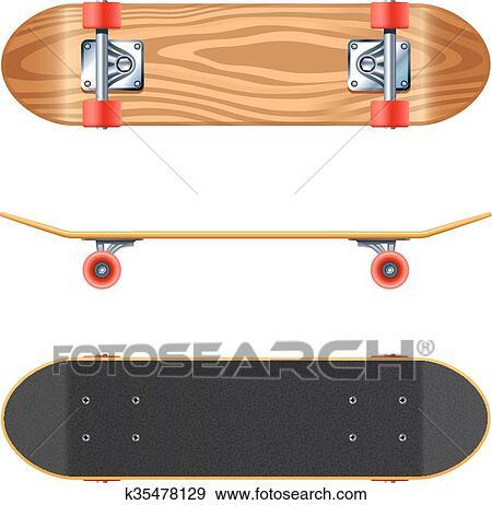 Clipart Skateboard Pont Côté Fond Réaliste Illustration