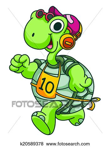 Sport courant tortue rigolote dessin anim clipart k20589378 - Clipart tortue ...