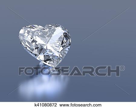 3d diamond heart stone Drawing