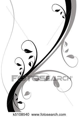 Clipart - a, schwarz weiß, abstrakt, blumen-, hintergrund k5108540 ...