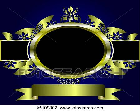 A Gold Floral Design With Room For Text On Royal Blue Background