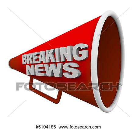 A Red Bullhorn With The Words Breaking News On It