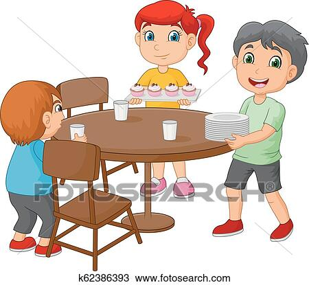 Cartoon Kids Setting The Dining Table By Placing Gles And