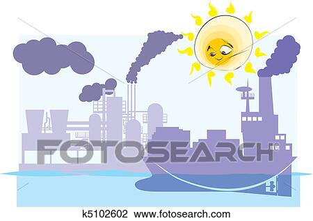 Clipart Confondu Soleil Regarde Sur Pollué La Terre K5102602