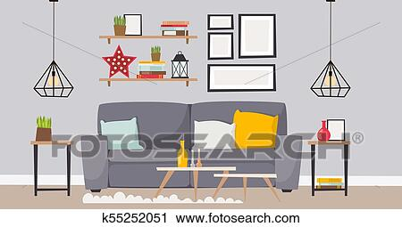 Furniture Vector Room Interior Design Apartment Home Decor Concept Flat Contemporary Furniture Architecture Indoor Elements Illustration Clipart K55252051 Fotosearch