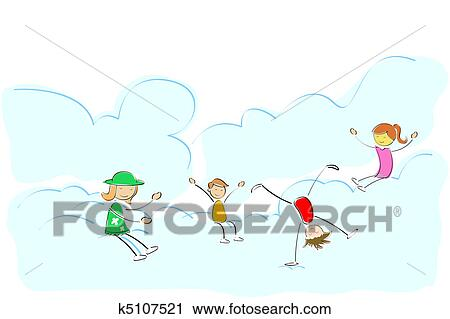 clipart of kids playing on cloud k5107521 search clip art rh fotosearch com