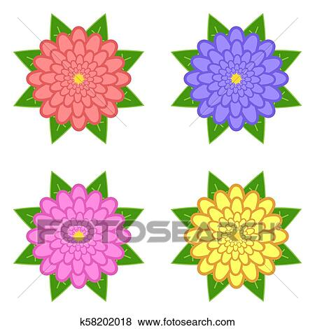 Set Of Red Purple Yellow Pink Flowers With Green Leaves