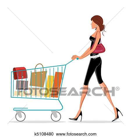 Rørig Shopping lady with trolley Clipart | k5108480 | Fotosearch NU-93