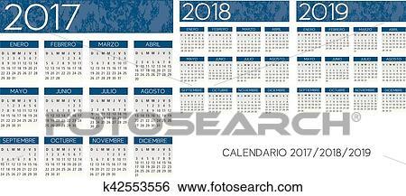 Calendario Anno 2017.Spagnolo Textured Blu Calendario Vettore Anno 2017 2018 2019 Clip Art