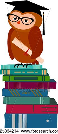 Clipart Of Wise Owl And Books K25334214