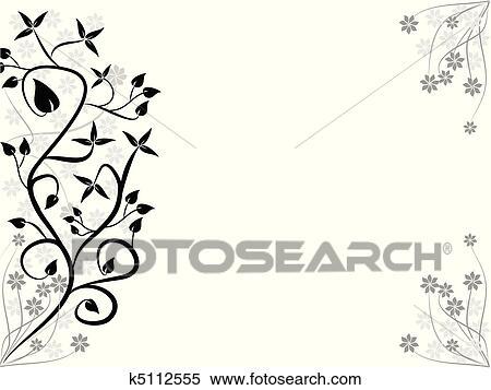 Clipart - a, stilisiert, schwarz weiß, abstrakt, floral entwurf ...
