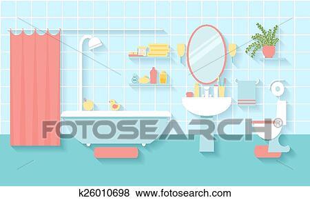 Bathroom Interior In Flat Style Clip Art