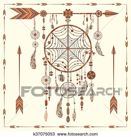 Clipart - catcher de sueño, flechas, cuentas, indio étnico, plumas ...