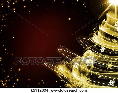 Dark Red Background With Gold Christmas Tree Stock Illustration