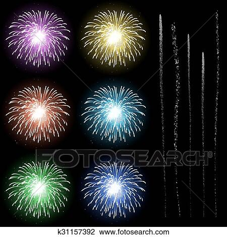 colourful firework rocket explosion design template with rocket tails set new years eve symbols happy new year collection