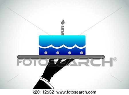Clipart - hand, teilen, blau, sahne kuchen, kerze k20112532 - Suche ...