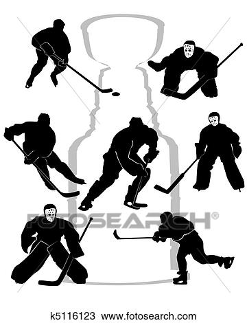 Clipart Of Hockey Players Silhouettes K5116123