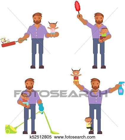 Homemaker Is Cleaning Clipart K52512805 Fotosearch