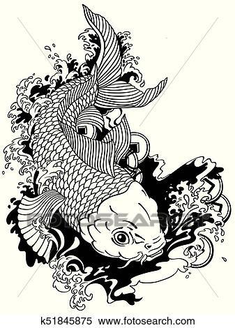 Carpe Koi Dessin japonaise, carpe, koi, noir, blanc clipart