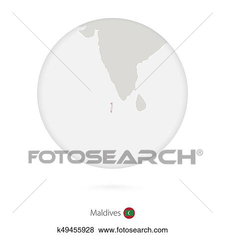Clip Art of Map of Maldives and national flag in a circle. k49455928 ...