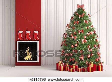 banque d 39 images no l arbre sapin et chemin e 3d render k5115796 recherchez des photos. Black Bedroom Furniture Sets. Home Design Ideas