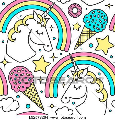 Seamless Modèle à Licorne Arc En Ciel Nuages étoiles Glace Donuts Vecteur Dessin Animé Style Mignon Character Isolé Blanc Clipart