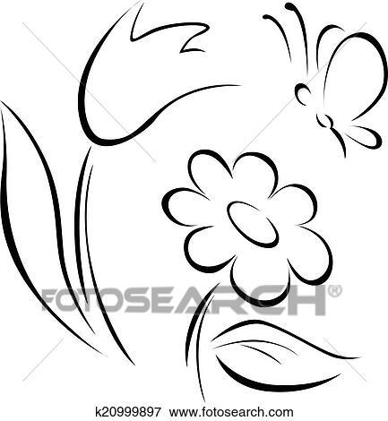 Clip art of spring flower outline k20999897 search clipart spring flower outline on white background mightylinksfo