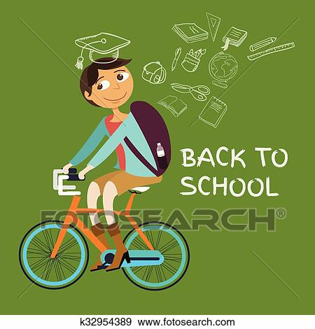 Clip Art Of Student College Riding Bicycle Go Back To School Class