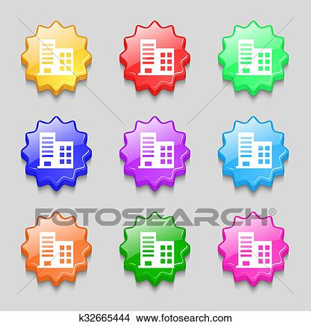 Dibujos - torre, comercial, edificios, y, residencial, apartamentos ...
