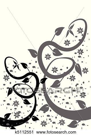 Clipart Uno Stilizzato Nero Bianco Estratto Disegno Floreale
